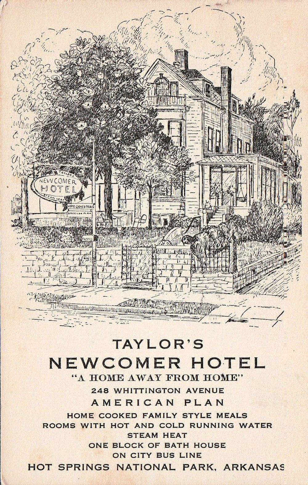 This advertisement features Taylor's Newcomer Hotel, one of many — now gone — hotels and apartment houses on Whittington Avenue. - Submitted photo courtesy of Garland County Historical Society