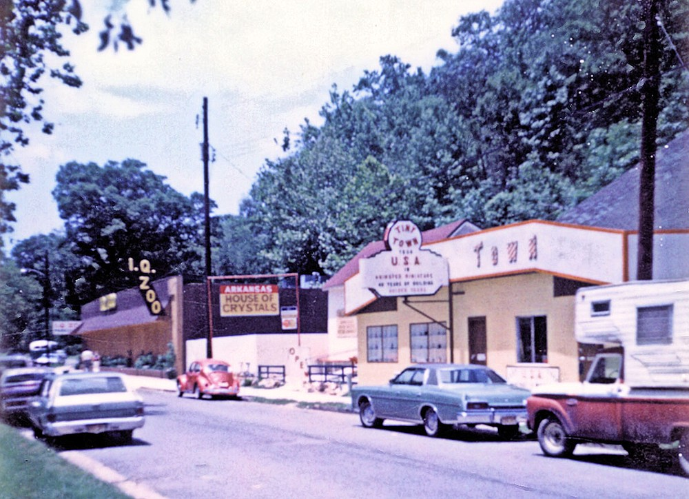 Many tourist attractions have dotted Whittington Avenue, including the I.Q. Zoo, Arkansas House of Crystals, and Tiny Town, which are shown on the 300 block of Whittington Avenue in the 1970s. - Submitted photo courtesy of Garland County Historical Society