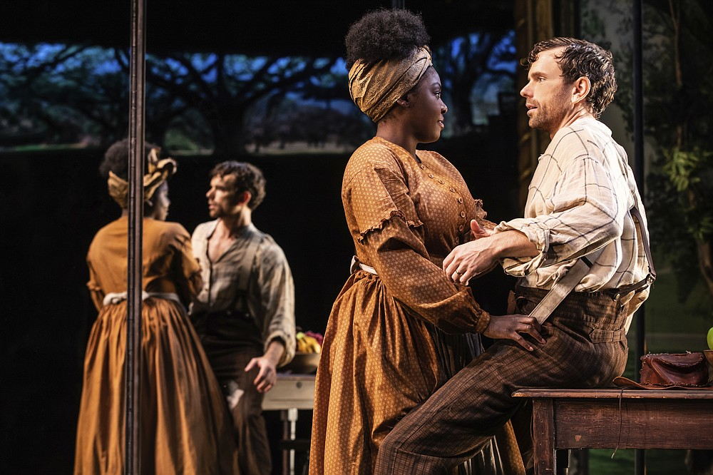 """This image released by DKC O&M shows Paul Alexander Nolan, right,  and Joaquina Kalukango during a performance of """"Slave Play.""""  Nominations for Tony Awards will be announced Thursday with just 18 eligible plays and musicals making the cut, a fraction of the 34 shows the season before. (Matthew Murphy/DKC O&M via AP)"""