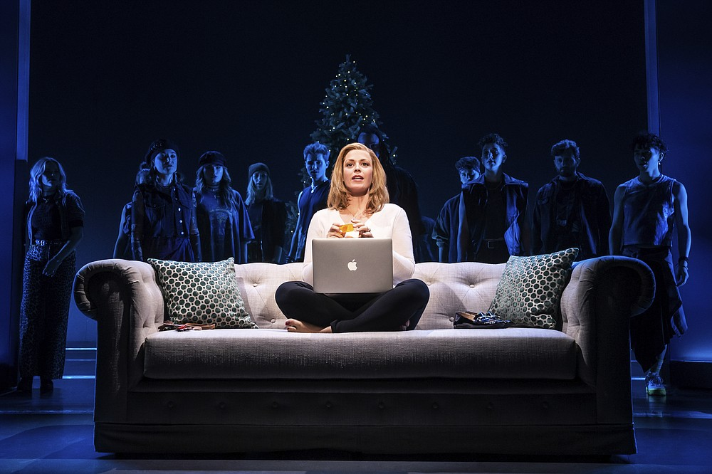 """This image released by Vivacity Media Group shows Elizabeth Stanley during a performance of """"Jagged Little Pill."""" Nominations for Tony Awards will be announced Thursday with just 18 eligible plays and musicals making the cut, a fraction of the 34 shows the season before. (Matthew Murphy/Vivacity Media Group via AP)"""