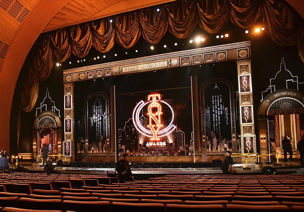 FILE - This JuNe 9, 2019 photo shows a view of the stage prior to the start of the 73rd annual Tony Awards in New York. Nominations for the  American Theatre Wing's 74th Annual Tony Awards will be announced on Thursday, Oct. 15.  (Photo by Charles Sykes/Invision/AP, File)