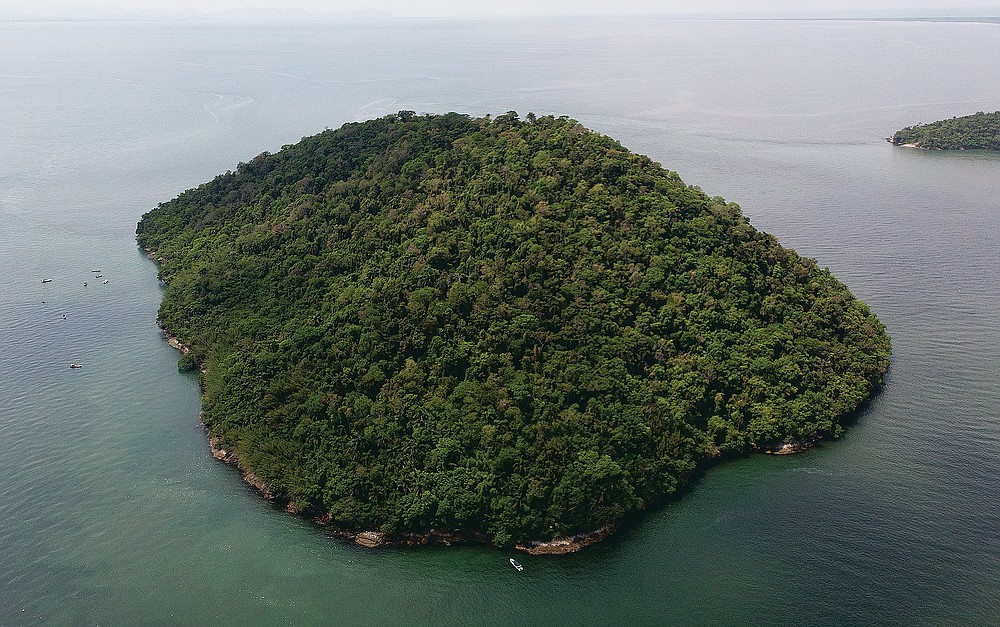 """Furtada Island, popularly known as """"Island of the Cats,"""" in Mangaratiba, Brazil, Tuesday, Oct. 13, 2020. Volunteers are working to ensure the stray and feral cats living off the coast of Brazil have enough food after fishermen saw the animals eating others' corpses, an unexpected consequence of the coronavirus pandemic after restrictions forced people to quarantine, sunk tourism, shut restaurants that dish up seafood and sharply cut down boat traffic around the island. (AP Photo/Mario Lobao)"""