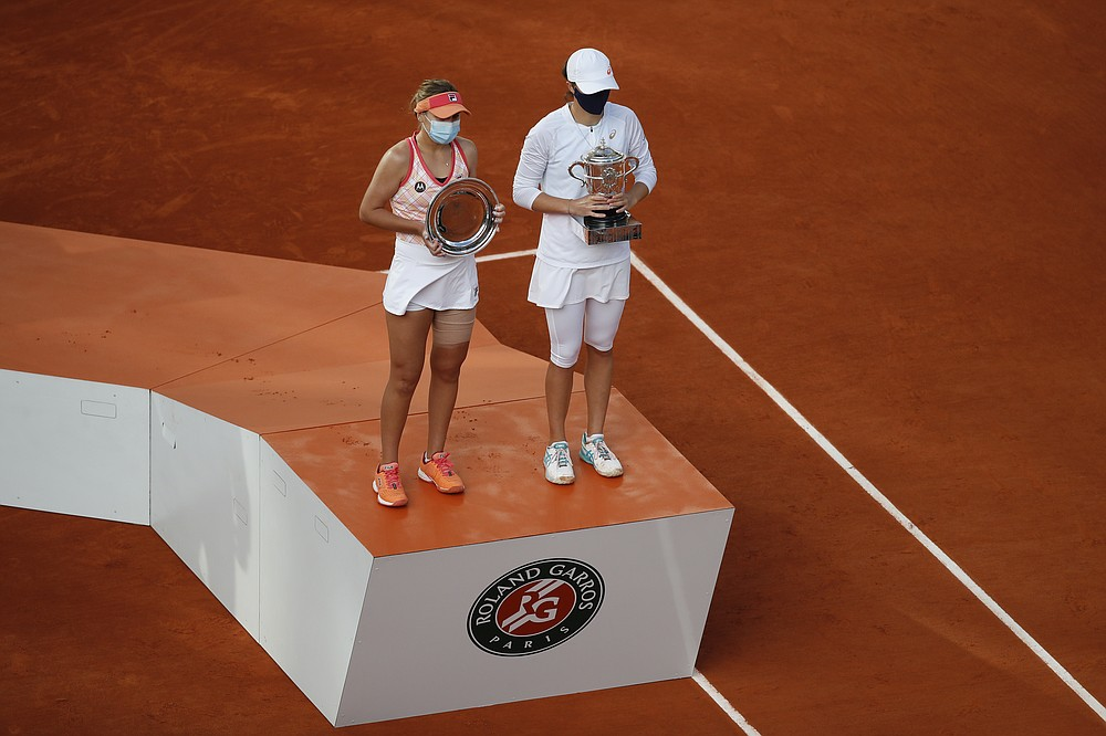 Poland's Iga Swiatek, right, holds the trophy after winning the final match of the French Open tennis tournament against Sofia Kenin of the U.S., left, in two sets 6-4, 6-1, at the Roland Garros stadium in Paris, France, Saturday, Oct. 10, 2020. (AP Photo/Alessandra Tarantino)