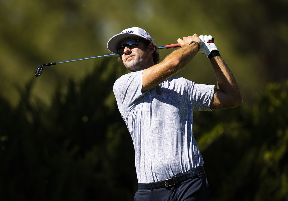Lanto Griffin tees off at the fifth hole during the third round of the CJ Cup golf tournament at Shadow Creek Golf Course, Saturday, Oct. 17, 2020, in North Las Vegas. (Chase Stevens/Las Vegas Review-Journal via AP)