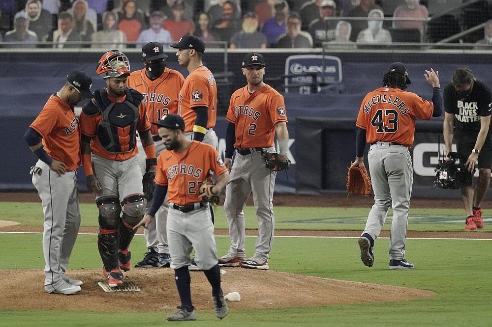 Houston Astros pitcher Lance McCullers Jr. (43) walks off the field after being relieved during the fourth inning in Game 7 of a baseball American League Championship Series against the Tampa Bay Rays, Saturday, Oct. 17, 2020, in San Diego. (AP Photo/Jae C. Hong)