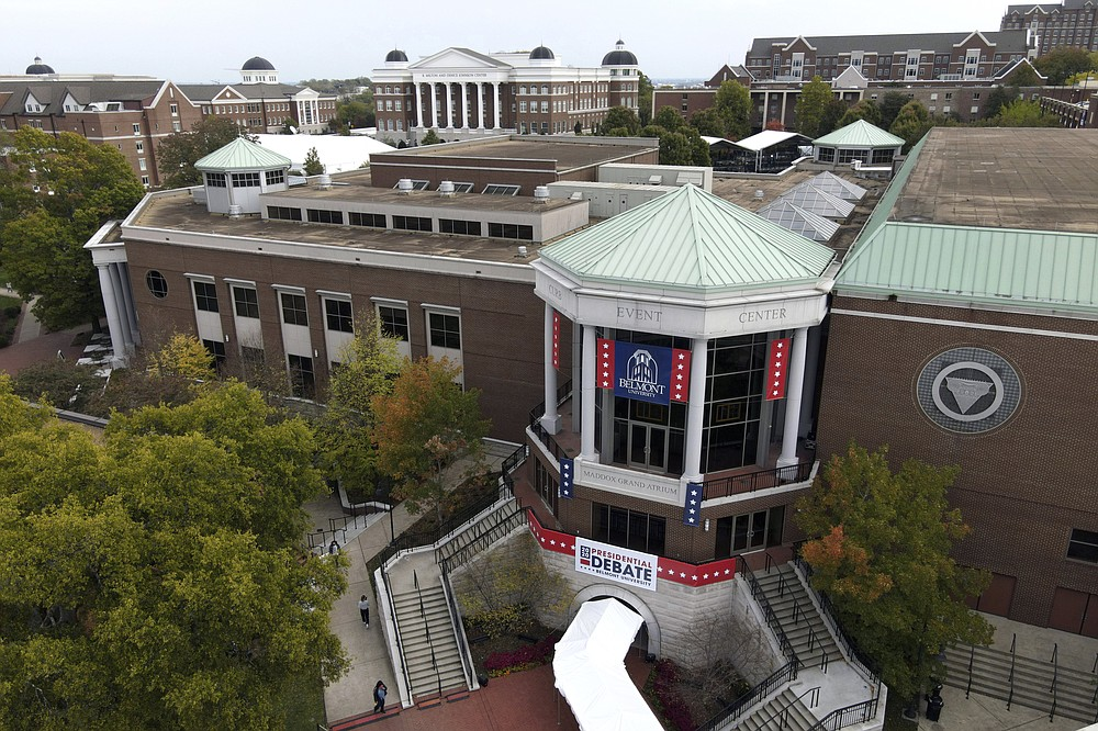 This aerial image shot with a drone shows Curb Event Center at Belmont University, the site of the final presidential debate between Republican nominee President Donald Trump and Democratic candidate former Vice President Joe Biden, Monday, Oct. 19, 2020, in Nashville, Tenn. The debate is scheduled for Thursday, Oct. 22. (AP Photo/Julio Cortez)