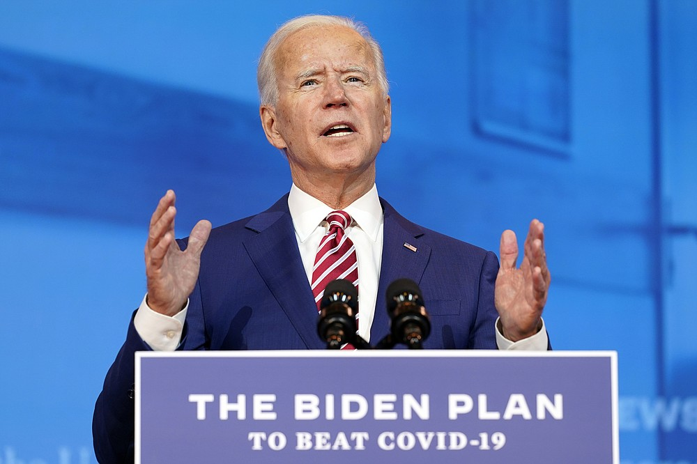 Democratic presidential candidate former Vice President Joe Biden speaks about coronavirus at The Queen theater, Friday, Oct. 23, 2020, in Wilmington, Del. (AP Photo/Andrew Harnik)