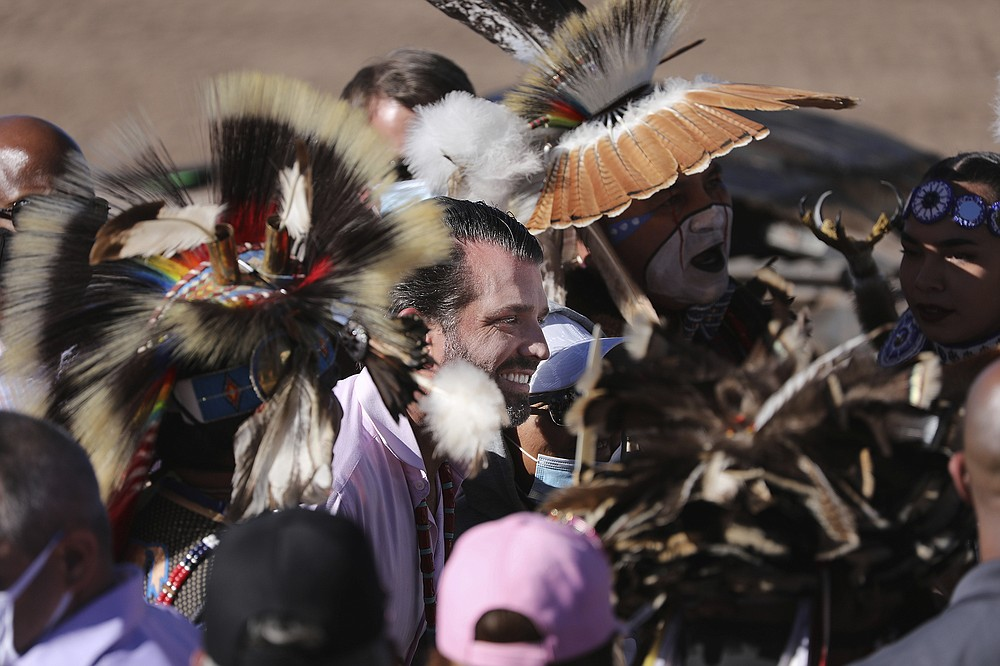 Donald Trump Jr. greets people who attended a rally Thursday, Oct. 15, 2020, in Williams, Arizona, that served as the launch of the Native Americans for Trump coalition. (Jake Bacon/Arizona Daily Sun via AP)