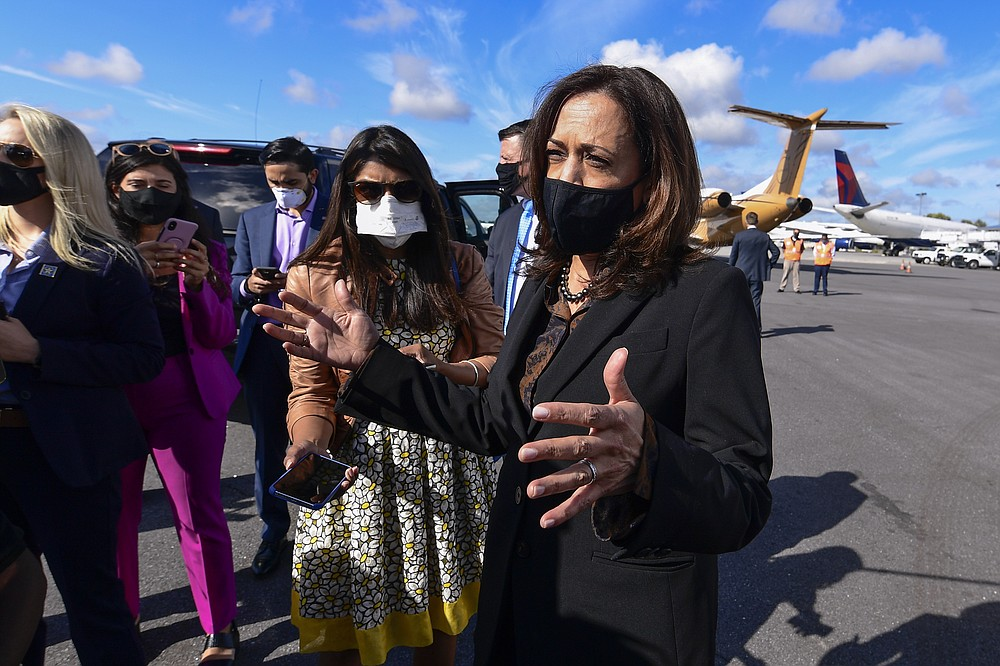 Democratic vice presidential candidate Sen. Kamala Harris, D-Calif., addresses reporters before a campaign event, Friday, Oct. 23, 2020, in Atlanta. (AP Photo/John Amis)