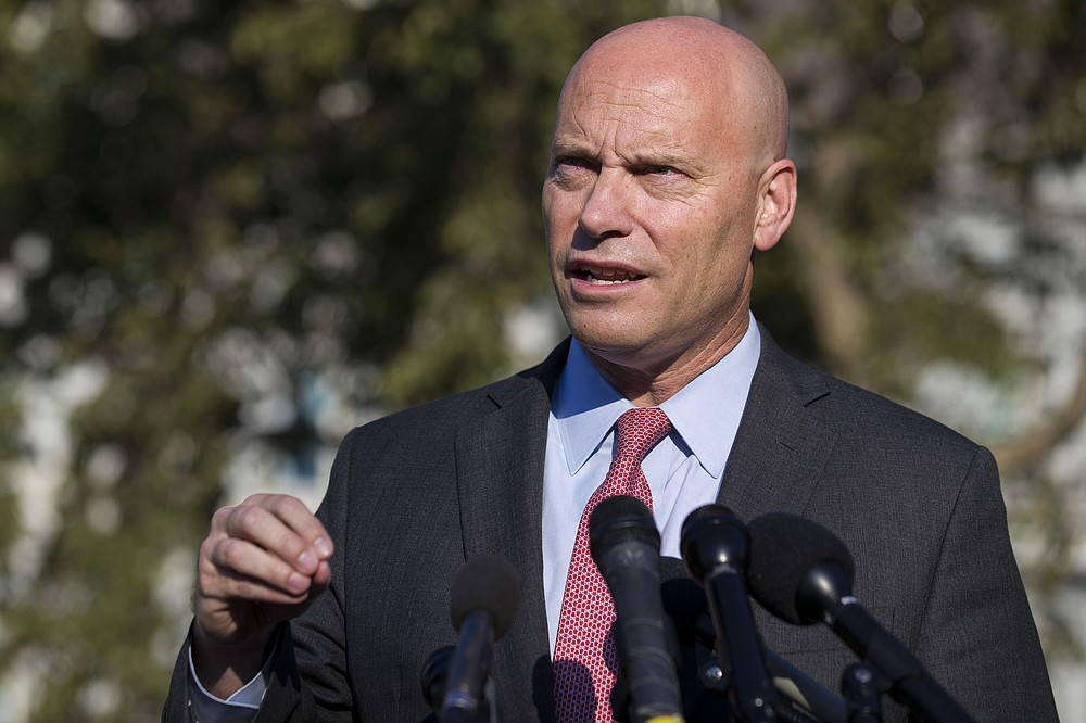 FILE - In this Monday, Sept. 16, 2019 file photo, Marc Short, chief of staff for Vice President Mike Pence, speaks with reporters at the White House in Washington. Vice President Mike Pence will maintain an aggressive campaign schedule this week the White House said Saturday, Oct. 24, 2020 despite his exposure to Marc Short, his chief of staff who tested positive for the coronavirus. (AP Photo/Alex Brandon, File)