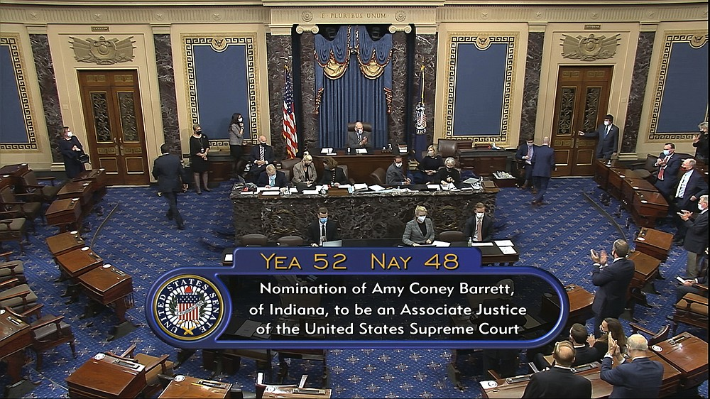 In this image from video, the vote total in the U.S. Senate on the confirmation of Amy Coney Barrett to become a Supreme Court justice at the U.S. Capitol in Washington, Monday, Oct. 26, 2020. (Senate Television via AP)