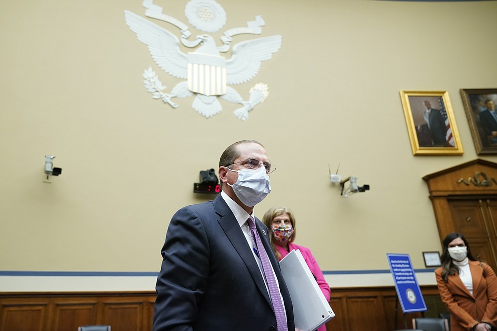 Secretary of Health and Human Services Alex Azar wraps up his testimony before the House Select Subcommittee on the Coronavirus Crisis, on Capitol Hill in Washington, Friday, Oct. 2, 2020. (AP Photo/J. Scott Applewhite, Pool)