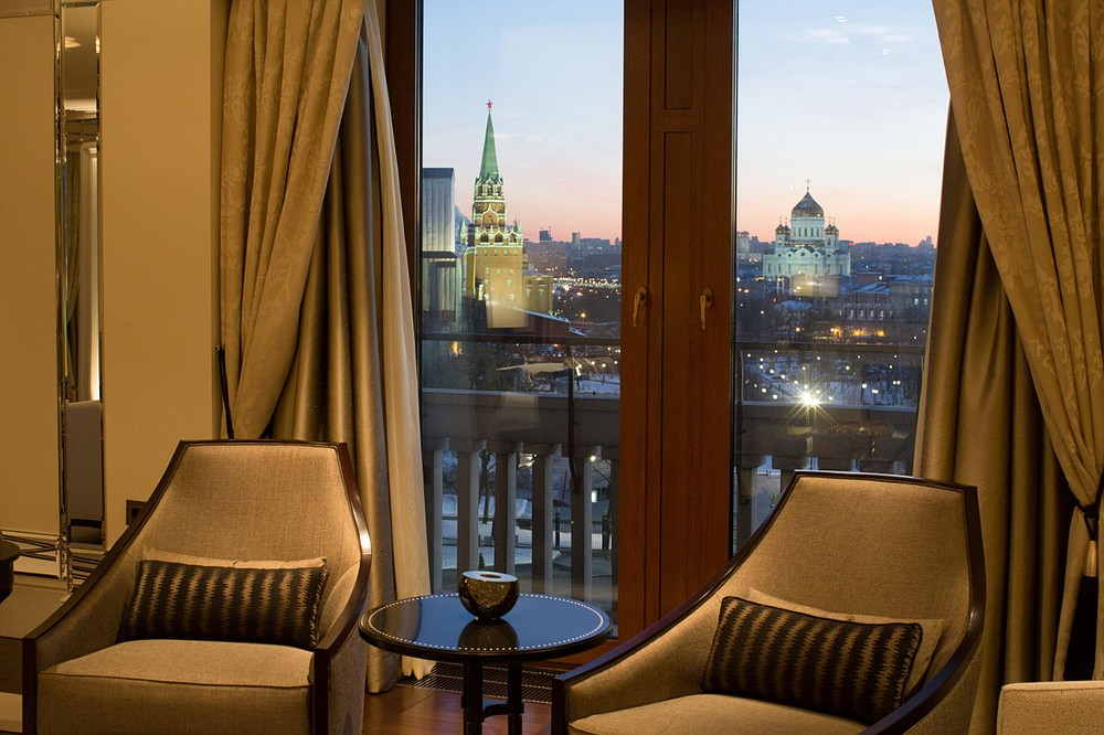 The Kremlin, left, and the Cathedral of Christ The Saviour, right, stand on the city skyline viewed from a guest room in the Pozharsky Royal suite at the Four Seasons in Moscow on Feb. 10, 2015. MUST CREDIT: Bloomberg photo by Andrey Rudakov