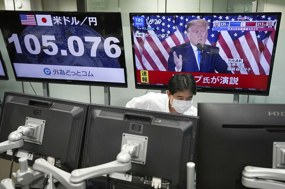 An employee works near a TV monitor showing a live broadcasting of the press conference by President Donald Trump, at a foreign exchange dealing company Wednesday, Nov. 4, 2020, in Tokyo. (AP Photo/Eugene Hoshiko)