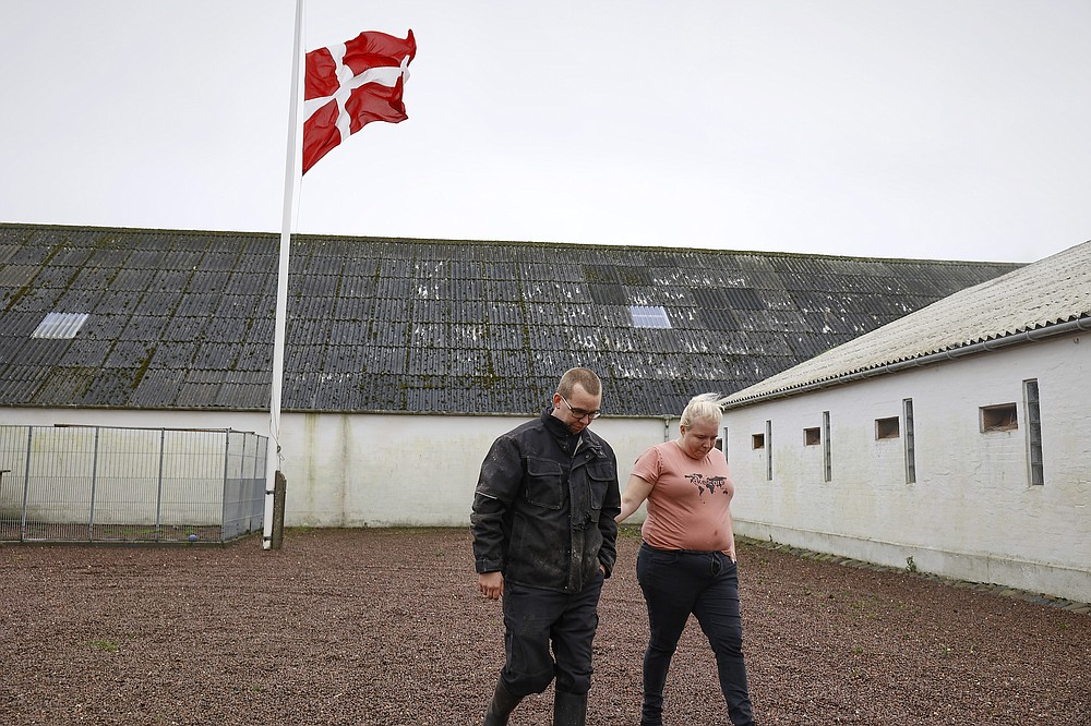 Peter and Trine Brinkmann Nielsen put their flag to halfmast at the Norden mink farm, after the government called for the culling of minks, in Boerglum Kloster, Denmark. Thursday, Nov. 5, 2020.  Denmark's prime minister says the government wants to cull all 15 million minks in Danish farms, to minimize the risk of them re-transmitting the new coronavirus to humans. She said Wednesday, Nov. 4, 2020, a report from a government agency that maps the coronavirus in Denmark has shown a mutation in the virus found in 12 people in the northern part of the country who got infected by minks. (Claus Bjoern Larsen/Ritzau Scanpix via AP)