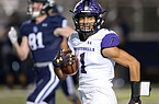 Fayetteville kick returner Isaiah Sategna (1) returns the opening kickoff for a touchdown Friday, Nov. 6, 2020, during the first half of play against Springdale Har-Ber at Wildcat Stadium in Springdale. Visit nwaonline.com/201107Daily/ for today's photo gallery.  (NWA Democrat-Gazette/Andy Shupe)