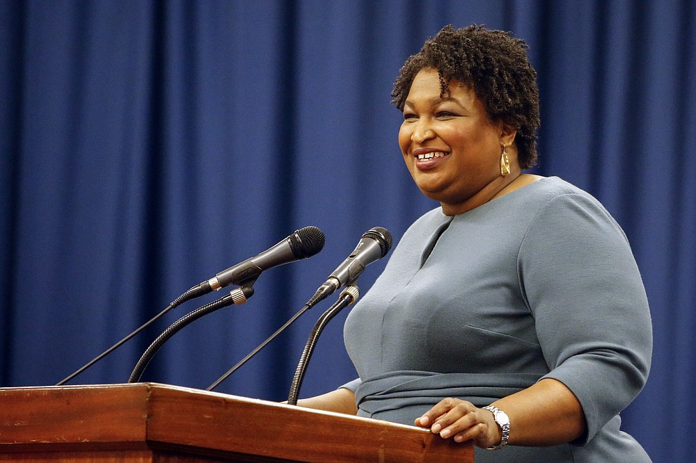 FILE - In this March 1, 2020, file photo, Stacey Abrams speaks at the unity breakfast in Selma, Ala. (AP Photo/Butch Dill, File)