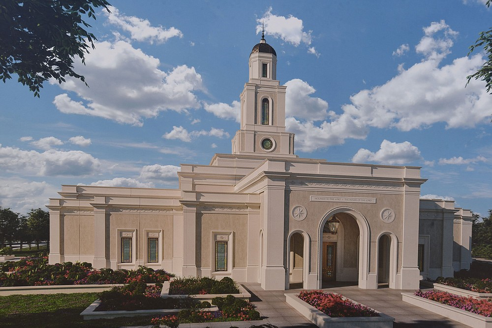 Artwork of Arkansas' first Mormon temple, to be built in Bentonville.