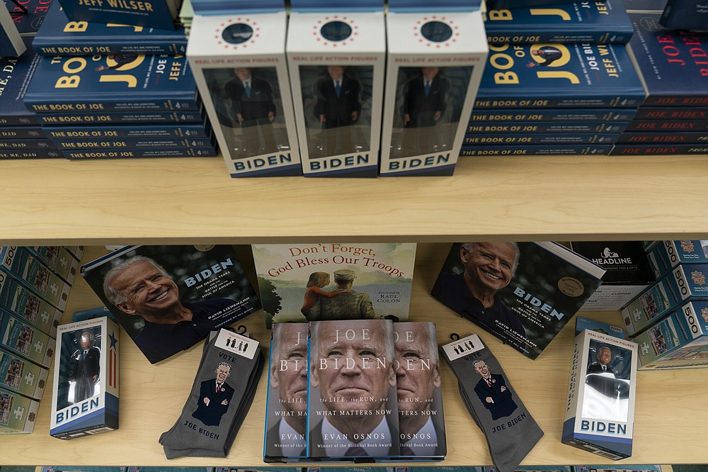 A display of President-elect Joe Biden and Jill Biden books and keepsakes are available at Browseabout Books, Friday, Nov. 13, 2020, in Rehoboth Beach, Del. (AP Photo/Alex Brandon)