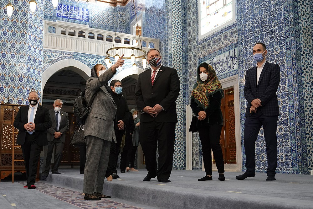 Secretary of State Mike Pompeo tours the Rustem Pasha Mosque in Istanbul, Tuesday, Nov. 17, 2020. Pompeo's stop in Turkey is focused on promoting religious freedom and fighting religious persecution, which is a key priority for the U.S. administration, officials said. (AP Photo/Patrick Semansky, Pool)
