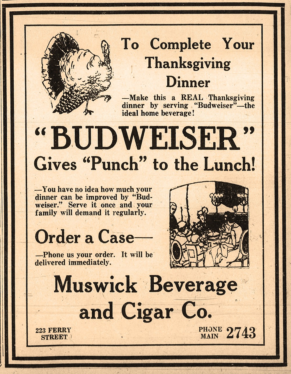 Ad for nonalcoholic Budweiser beer in the Nov. 23, 1920, Arkansas Democrat. Prohibition was the law of the land in 1920. (Arkansas Democrat-Gazette)