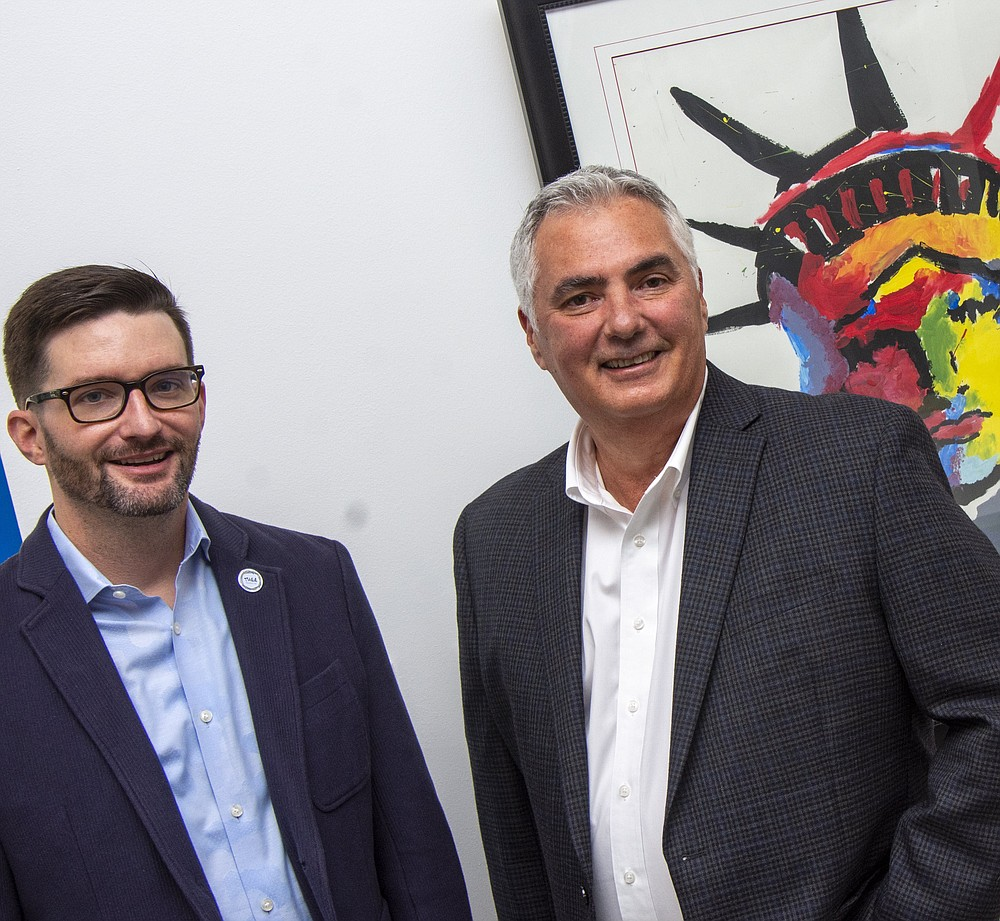 Jeremy Mitchell (left) and Alex Montez, as new Thea Foundation board members, are marshaling forces for the annual Thea Day of Giving. (Arkansas Democrat-Gazette/Cary Jenkins)