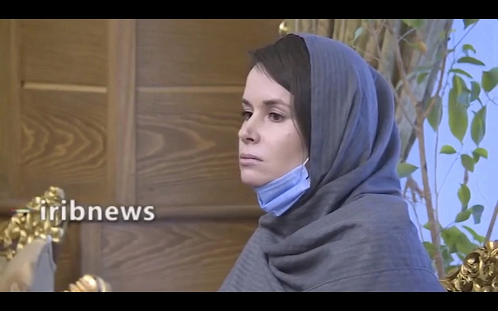 In this frame grab from Iranian state television video aired Wednesday, Nov. 25, 2020, British-Australian academic Kylie Moore-Gilbert is seen in Tehran, Iran. Iran has freed Moore-Gilbert, who has been detained in Iran for more than two years, in exchange for three Iranians held abroad, state TV reported Wednesday. (Iranian State Television via AP)