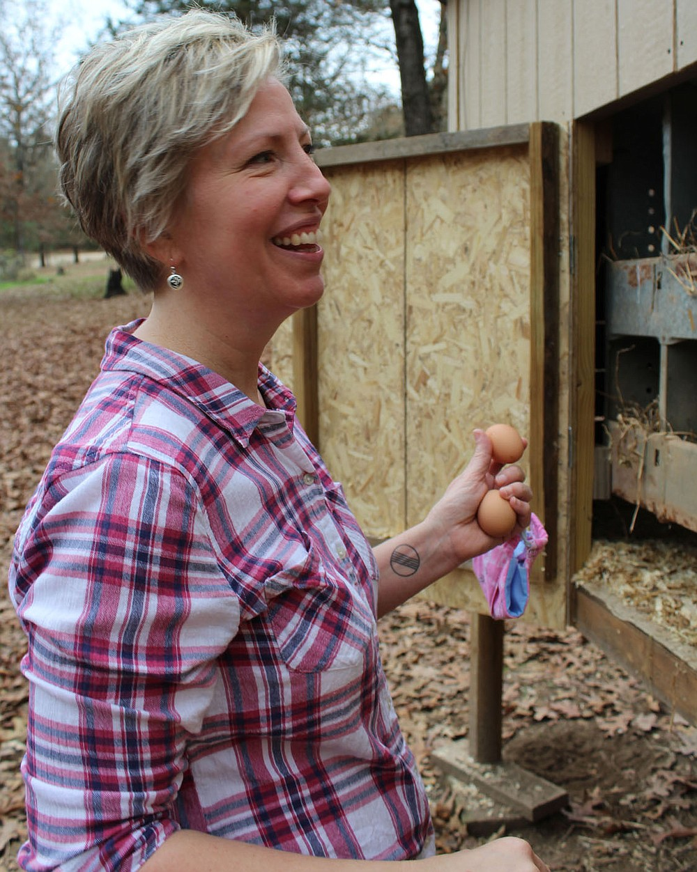 Anne Canada, a librarian at Paris Middle School, searches her chicken coop for eggs Nov. 21 at her Subiaco home. The coop was built to house chickens and roosters hatched in support of a virtual 4-H program offered for students when schools shutdown for onsite instruction in the spring.  (NWA Democrat-Gazette/Mary Jordan)