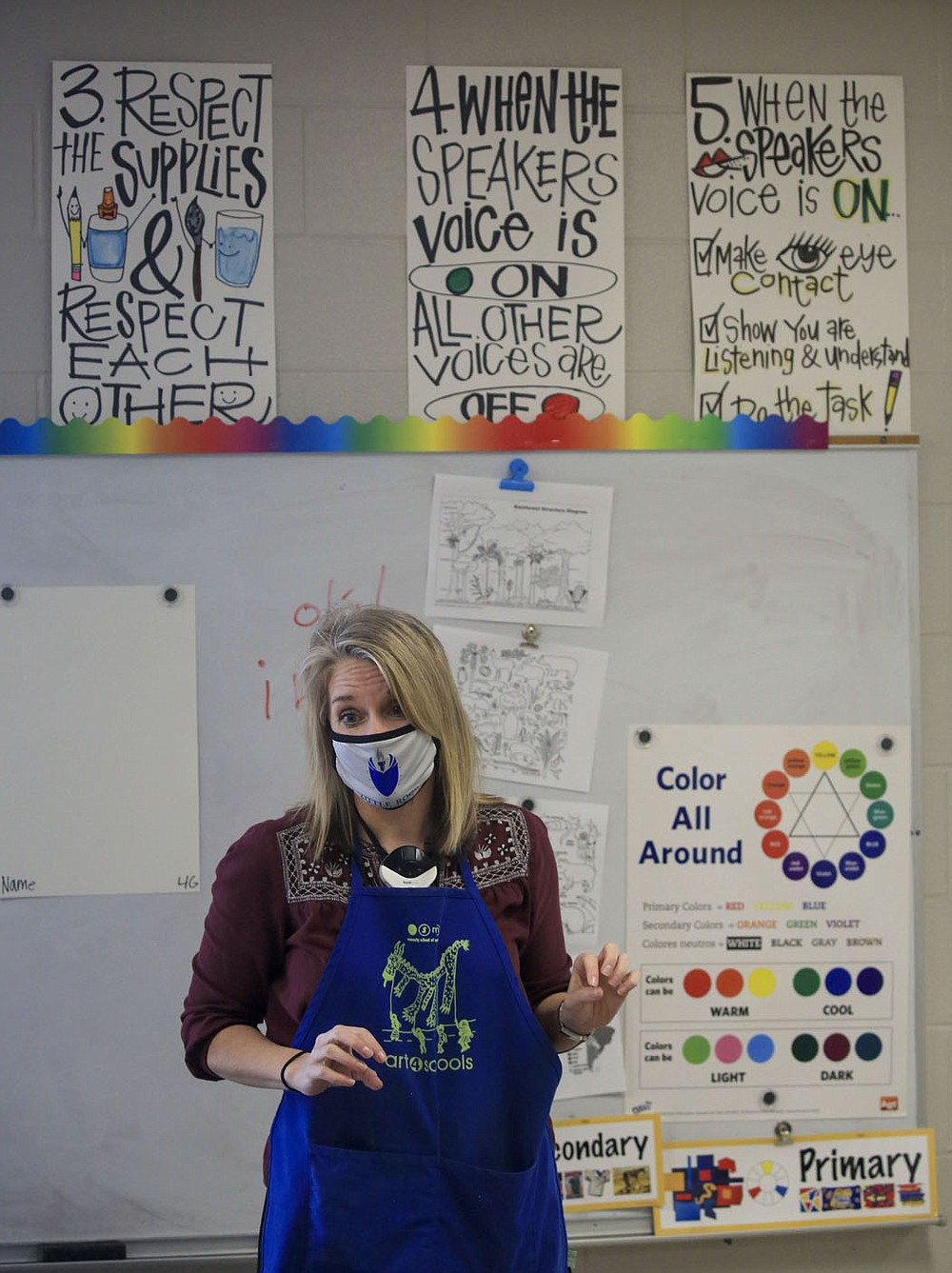 Art teacher Stephanie Crowell teaches Nov. 18 students in her fourth-grade art class at Carver Magnet Elementary School in Little Rock. Check out nwaonline.com/201129Daily/ for today's photo gallery. (Arkansas Democrat-Gazette/Staton Breidenthal)