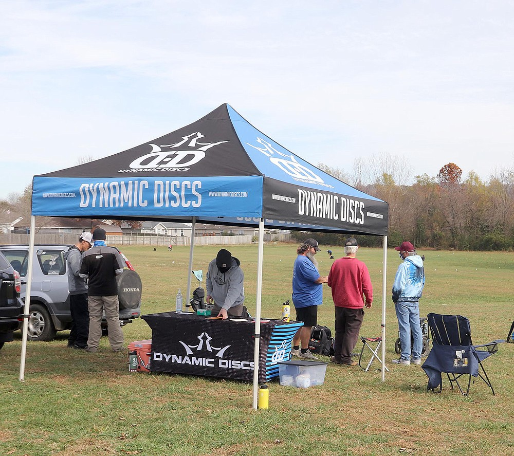 LYNN KUTTER ENTERPRISE-LEADER A registration table was set up for a disc golf tournament held in November by Dynamic Discs, which has a franchise store in Springdale. It broke the record for being the largest disc golf tournament for Arkansas. The three-day tournament was held at three courses in Northwest Arkansas and had 272 registered players.