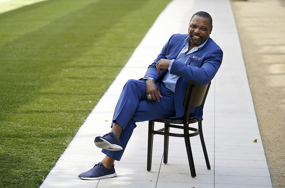"""Petri Hawkins Byrd, bailiff on the reality court television program """"Judge Judy,"""" poses for portrait, Friday, Sept. 25, 2020, in Los Angeles. (AP Photo/Chris Pizzello)"""