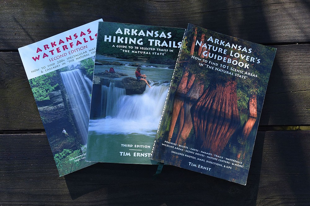 Guidebooks by Tim Ernst, local wilderness photographer, author and hiker, make fine Christmas gifts. (NWA Democrat-Gazette/Flip Putthoff)