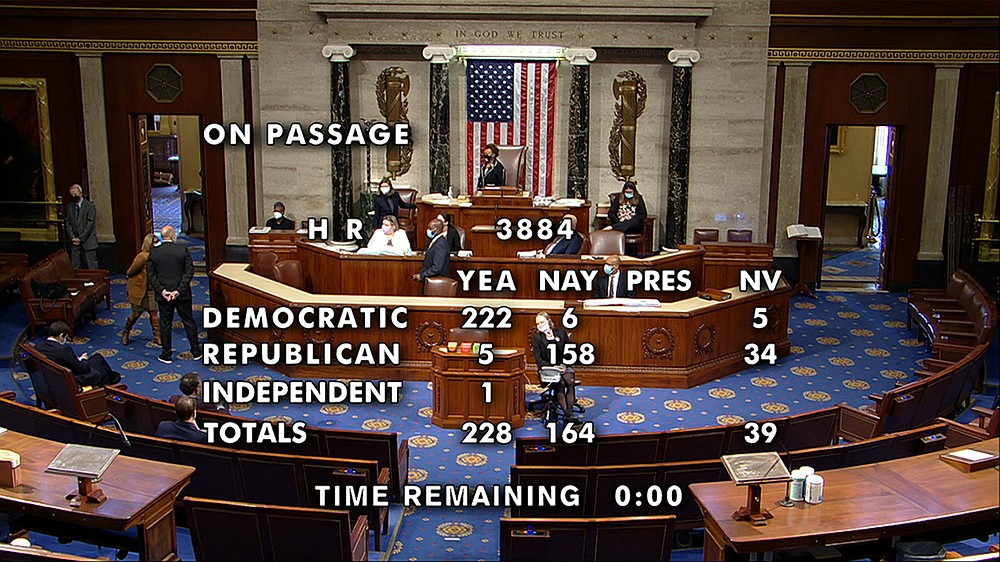This image from House Television shows the final vote, 228-164, in the House on passage of a bill to decriminalize and tax marijuana at the federal level. The bill now goes to the Republican-controlled Senate, where it is unlikely to move forward. (House Television via AP)