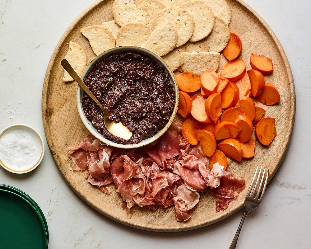 Fig-Olive Tapenade With Prosciutto and Persimmon  (The New York Times/Andrew Purcell)
