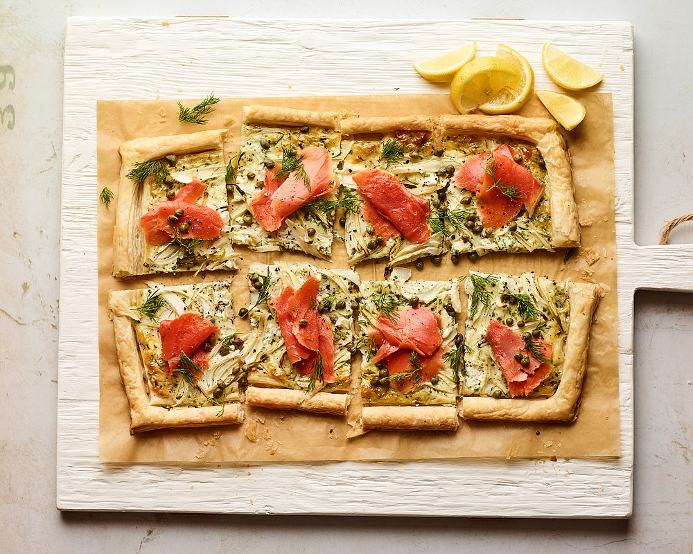 Smoked Salmon, Fennel and Herbed Mascarpone Tart (The New York Times/Andrew Purcell)