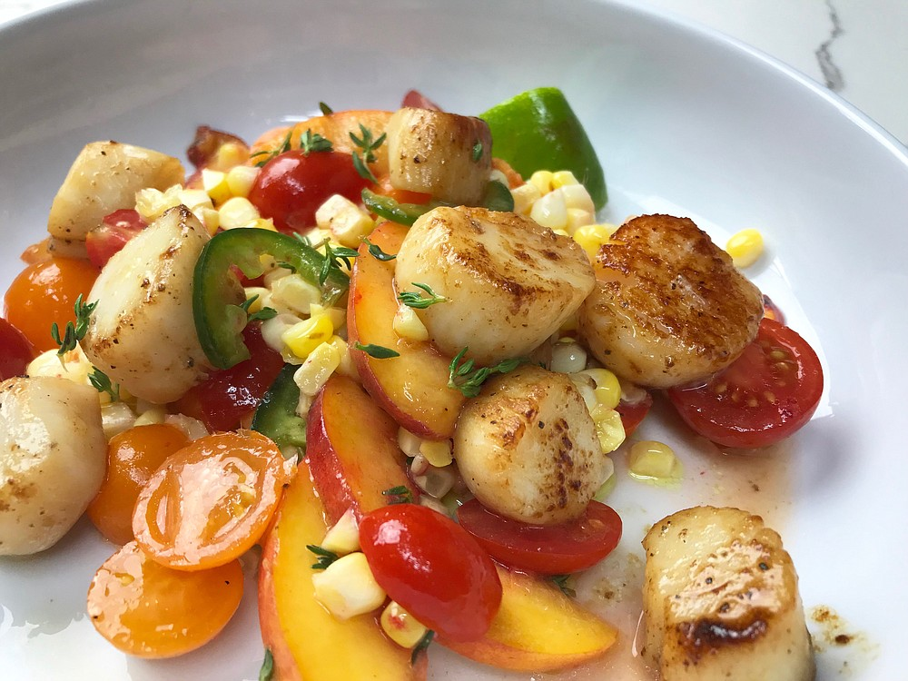 Seared Scallops Over Corn, Peaches and Tomatoes (Arkansas Democrat-Gazette/Kelly Brant) 08/05/20