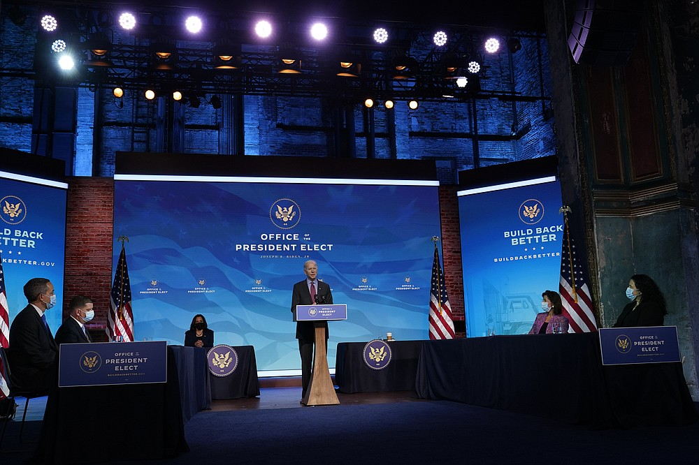 President-elect Joe Biden speaks during an event at The Queen theater in Wilmington, Del., Friday, Jan. 8, 2021, to announce key administration posts. (AP Photo/Susan Walsh)