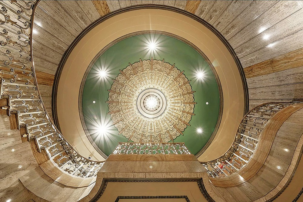Art Deco motifs can be seen in a spiral staircase at the Bottleworks Hotel in Indianapolis.  (Courtesy photo)