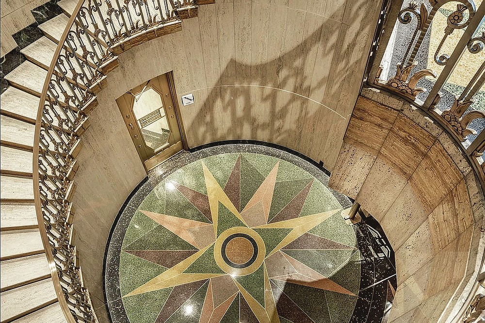 Art Deco motifs can be seen in a spiral staircase in the Bottleworks Hotel.  This is a view from the second floor to the first floor.  (Courtesy photo)