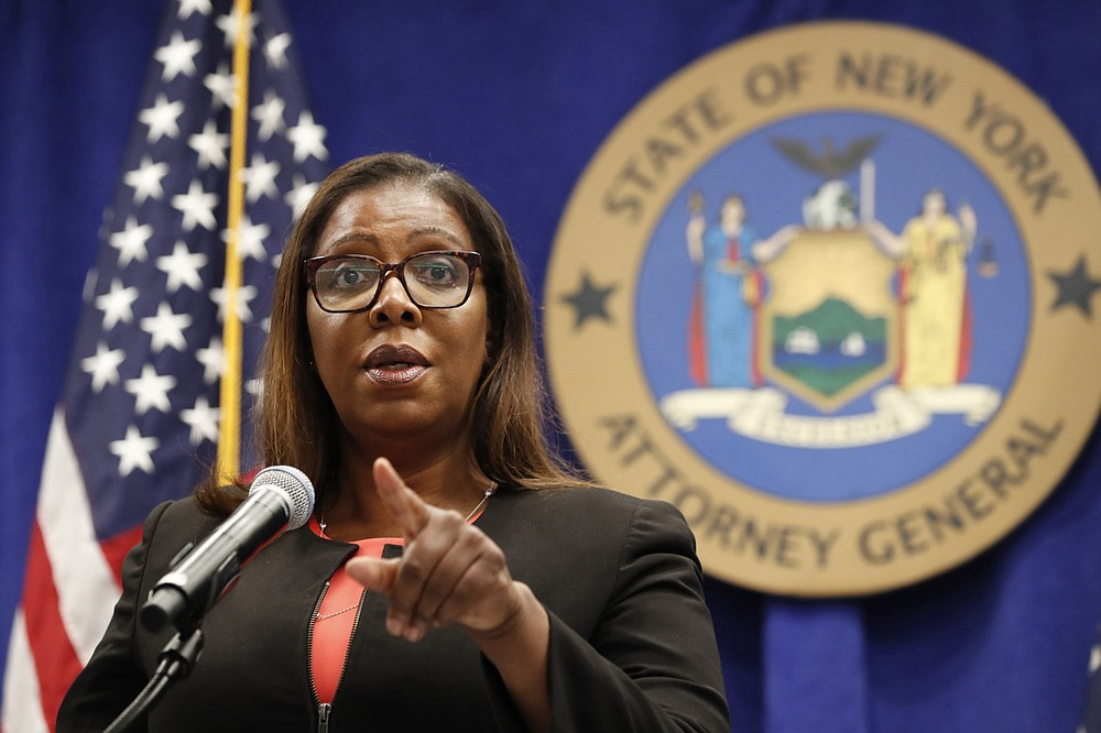 FILE- In this Aug. 6, 2020 file photo, New York State Attorney General Letitia James takes a question at a news conference in New York.  New York's attorney general sued the New York Police Department on Thursday, Jan. 14, 2021 alleging the rough treatment of protesters last spring in the wake of George Floyd's killing was part of a longstanding pattern of abuse that stemmed from inadequate training, supervision and discipline. (AP Photo/Kathy Willens, File)