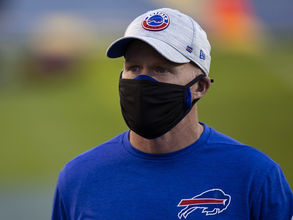 FILE - Buffalo Bills head coach Sean McDermott walks off the field before an NFL football game against the Tennessee Titans in Nashville, Tenn., in this Tuesday, Oct. 13, 2020, file photo. The Bills and Baltimore Ravens meet in an AFC divisional round playoff game on Saturday, Jan. 16. (AP Photo/Brett Carlsen, File)