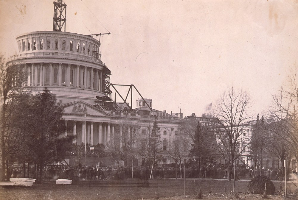 The U.S. Capitol dome was still under construction when Abraham Lincoln's first inauguration ceremony took place March 4, 1861. (Photo courtesy of the Library of Congress.)