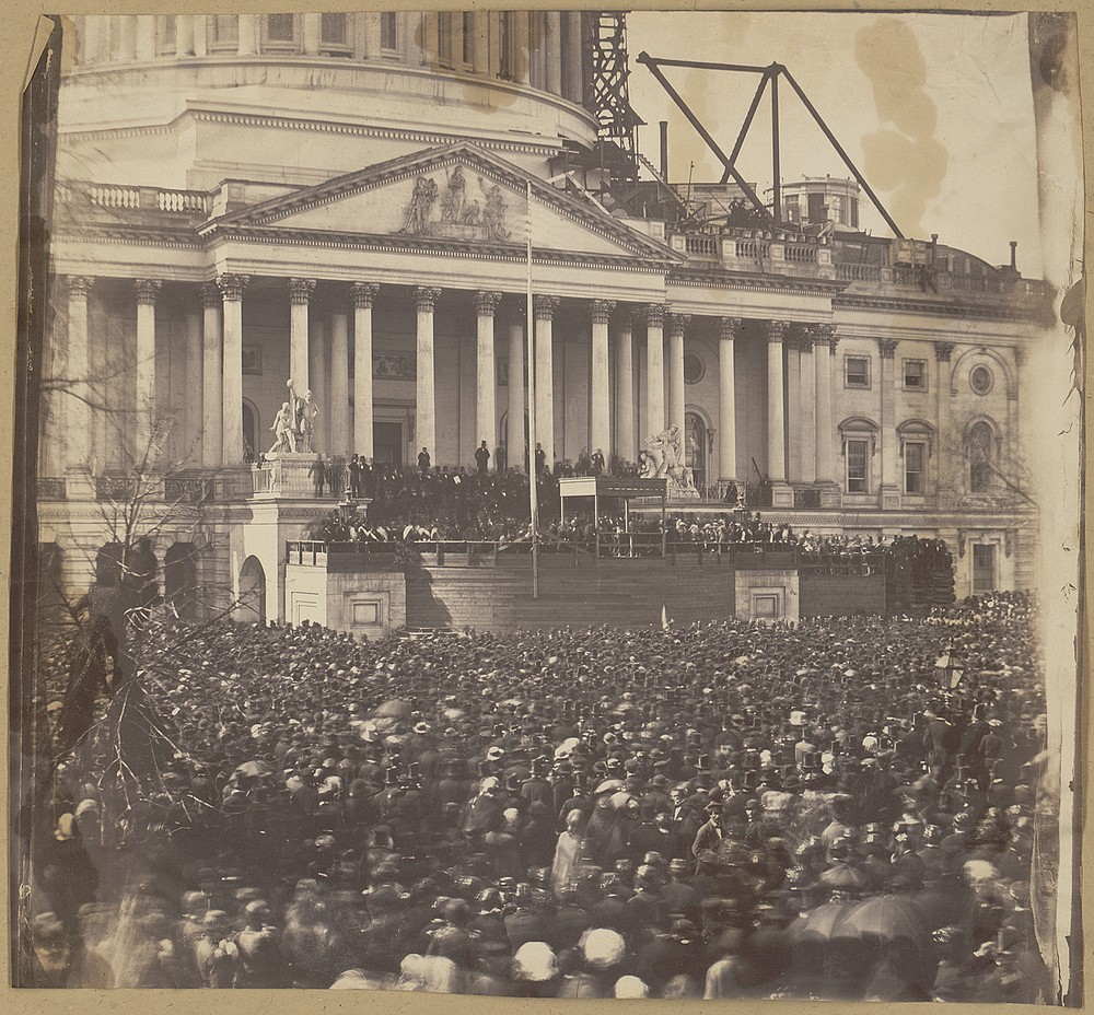 A throng of 30,000 people attended the first inauguration of Abraham Lincoln. An Army artillery battery and snipers stood watch after Lincoln arrived by carriage under escort by infantrymen and cavalrymen. (Photo courtesy of the Library of Congress.)