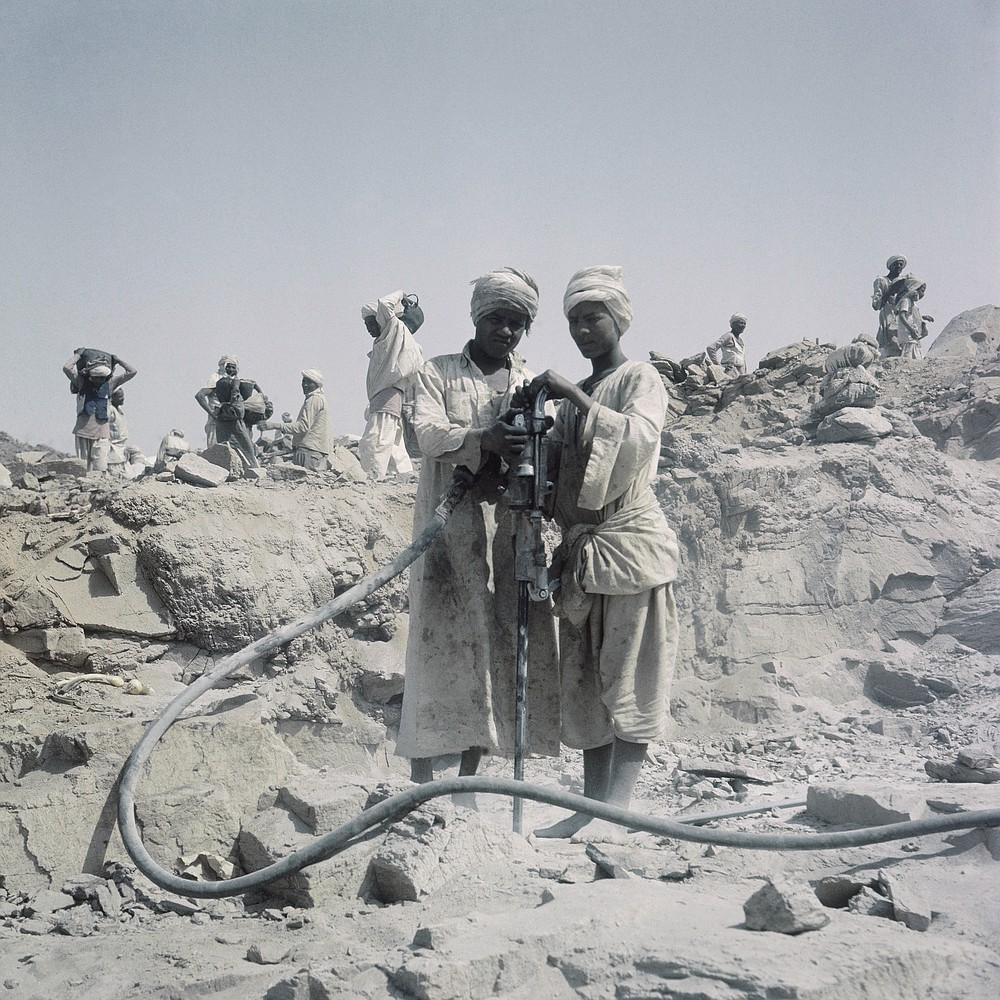 FILE - In this April 1964 file photo, Workers are shown during construction of the Aswan High Dam over the river Nile in Egypt. Egyptians are marking 50 years since the inauguration of the Nile dam, a massive feat of construction that has shaped the course of modern-day Egypt. It spared it from seasonal droughts and flooding, and generated electricity. (AP Photo, File)