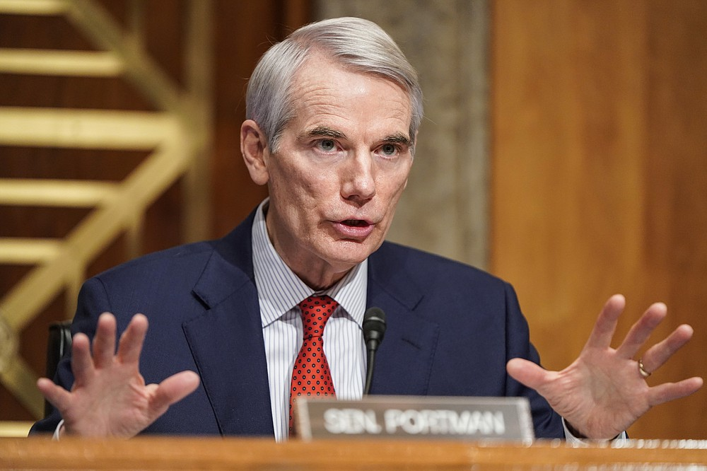 Sen. Rob Portman, R-Ohio, questions Homeland Security Secretary nominee Alejandro Mayorkas during his confirmation hearing in the Senate Homeland Security and Governmental Affairs Committee on Tuesday, Jan. 19, 2021, on Capitol Hill in Washington. (Joshua Roberts/Pool via AP)