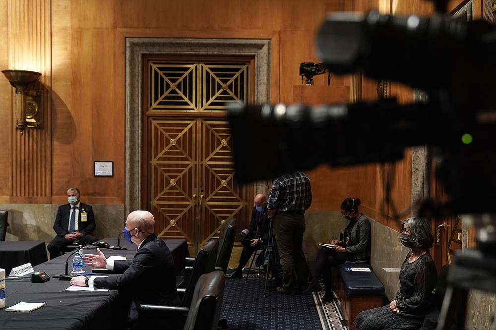 Homeland Security Secretary nominee Alejandro Mayorkas testifies during his confirmation hearing in the Senate Homeland Security and Governmental Affairs Committee on Tuesday, Jan. 19, 2021, on Capitol Hill in Washington. (Joshua Roberts/Pool via AP)