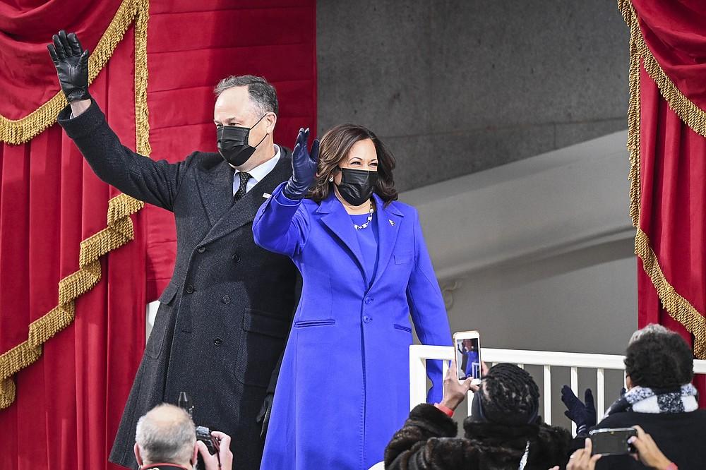 Vice President-elect Kamala D. Harris and Doug Emhoff arrive before Joe Biden is sworn in as 46th President of the United States. (The Washington Post/Jonathan Newton)