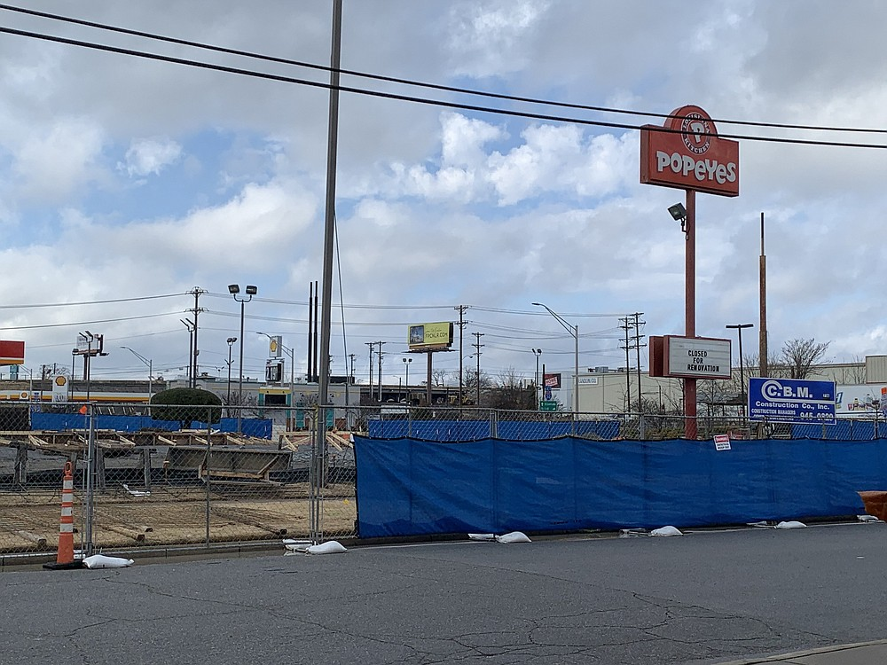 The Popeyes Louisiana Kitchen on North Little Rock's East Broadway has been razed and a construction on a new one has begun. (Arkansas Democrat-Gazette/Eric E. Harrison)