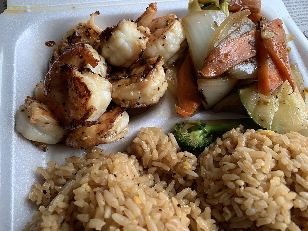 Hibachi-grilled shrimp joined grilled vegetables and a copious amount of fried rice in a lunch plate from Chicot Hibachi Express on North Rodney Parham Road. (Arkansas Democrat-Gazette/Eric E. Harrison)
