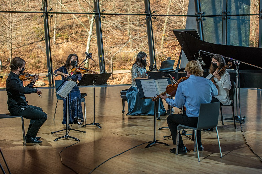 """Symphony of Northwest Arkansas principal players (from left) Zsolt Eder and Miho Oda Sakon, violins; Tomoko Kashiwagi, piano; Jesse Collett, viola; and Kari Caldwell, cello, play Florence Price's """"Quintet"""" in a minor. (Special to the Democrat-Gazette)"""